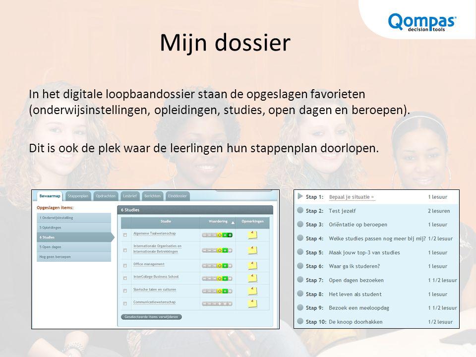 Mijn dossier In het digitale loopbaandossier staan de opgeslagen favorieten (onderwijsinstellingen, opleidingen, studies, open dagen en beroepen). Dit
