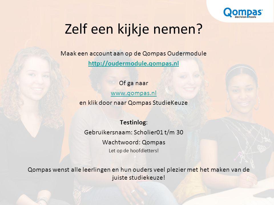 Maak een account aan op de Qompas Oudermodule http://oudermodule.qompas.nl Of ga naar www.qompas.nl en klik door naar Qompas StudieKeuze Testinlog: Ge