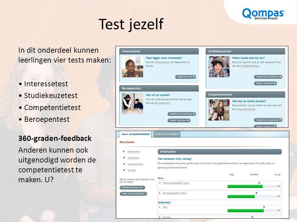 Test jezelf In dit onderdeel kunnen leerlingen vier tests maken: Interessetest Studiekeuzetest Competentietest Beroepentest 360-graden-feedback Andere