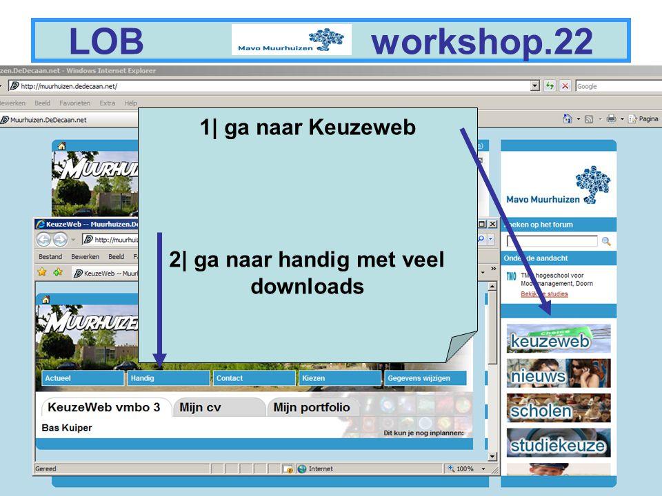 11 LOB workshop.22 1| ga naar Keuzeweb 2| ga naar handig met veel downloads