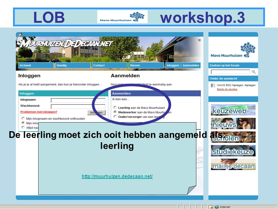 3 LOB workshop.7 aanmelden als leerling
