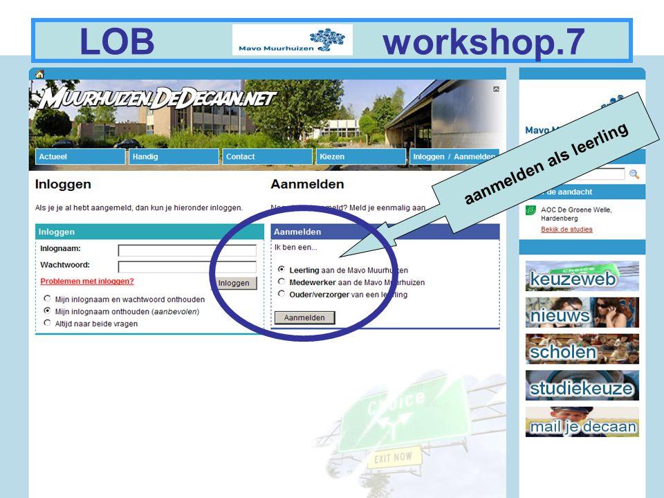 14 LOB workshop.27 Vergeet niet uit te loggen.