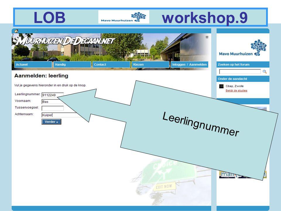 4 LOB workshop.9 Leerlingnummer