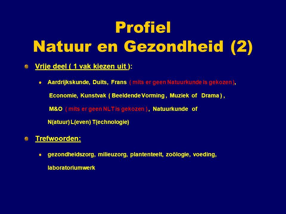 Profiel Natuur en Gezondheid (2) Vrije deel ( 1 vak kiezen uit ): Aardrijkskunde, Duits, Frans ( mits er geen Natuurkunde is gekozen ), Economie, Kuns