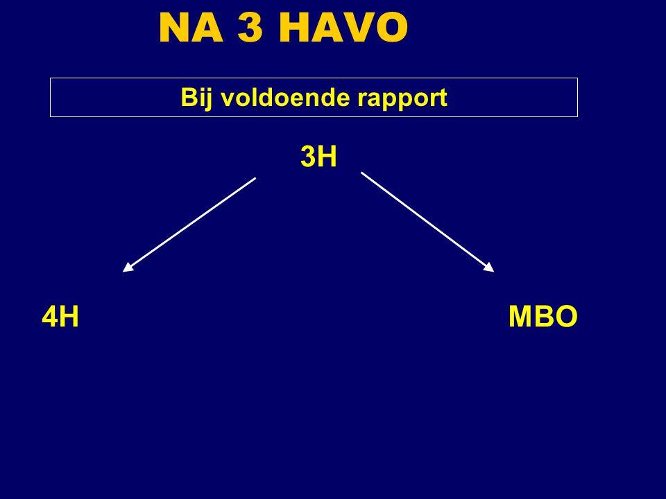 Bij voldoende rapport 3H 4HMBO NA 3 HAVO
