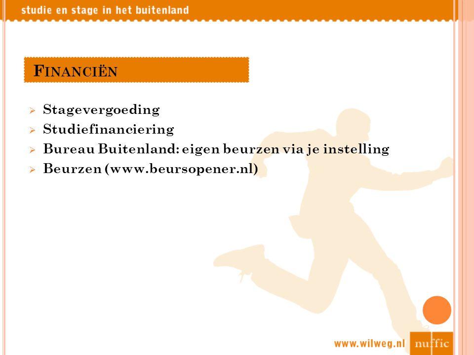 F INANCIËN  Stagevergoeding  Studiefinanciering  Bureau Buitenland: eigen beurzen via je instelling  Beurzen (www.beursopener.nl)