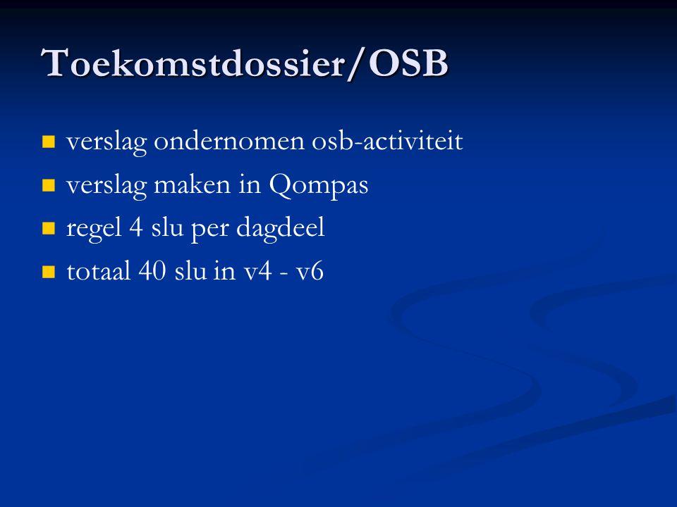 Toekomstdossier/OSB verslag ondernomen osb-activiteit verslag maken in Qompas regel 4 slu per dagdeel totaal 40 slu in v4 - v6