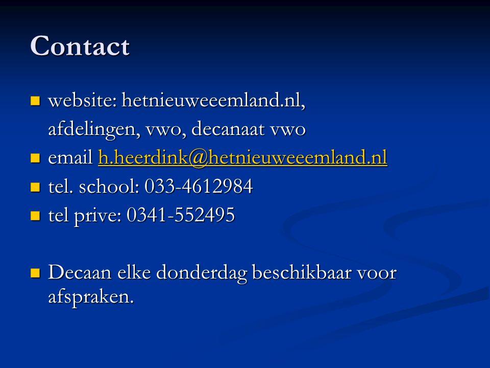 Contact website: hetnieuweeemland.nl, website: hetnieuweeemland.nl, afdelingen, vwo, decanaat vwo email h.heerdink@hetnieuweeemland.nl email h.heerdin