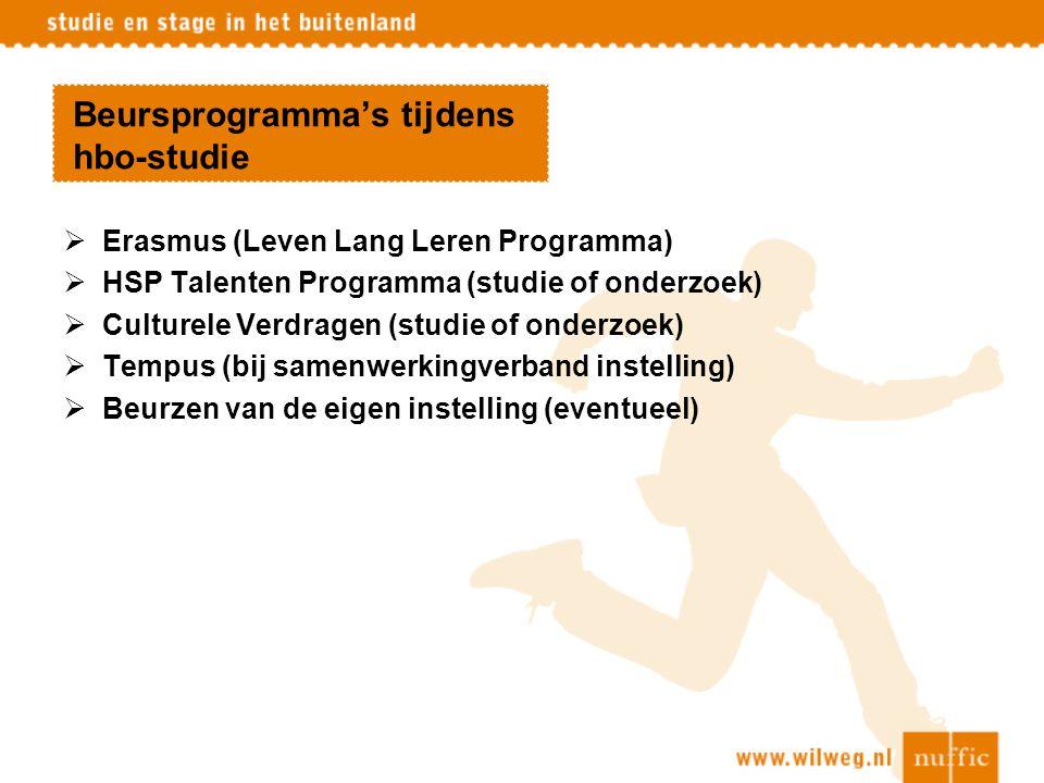 Beursprogramma's tijdens hbo-studie  Erasmus (Leven Lang Leren Programma)  HSP Talenten Programma (studie of onderzoek)  Culturele Verdragen (studi