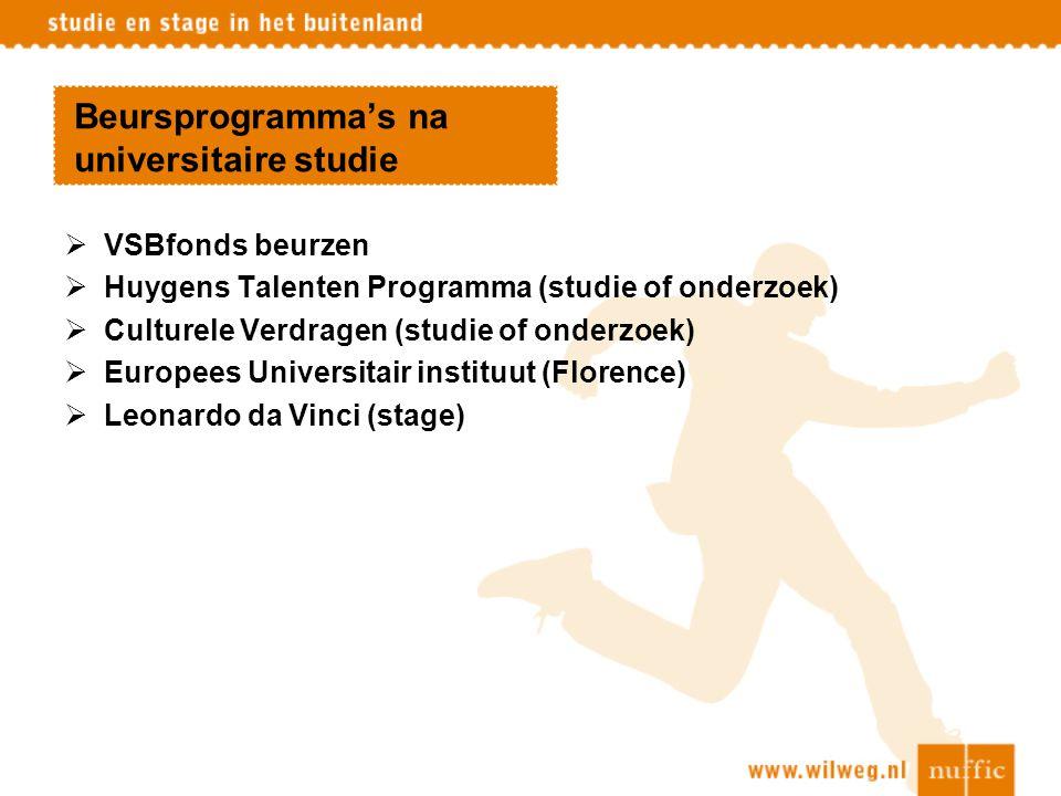 Beursprogramma's na universitaire studie  VSBfonds beurzen  Huygens Talenten Programma (studie of onderzoek)  Culturele Verdragen (studie of onderz