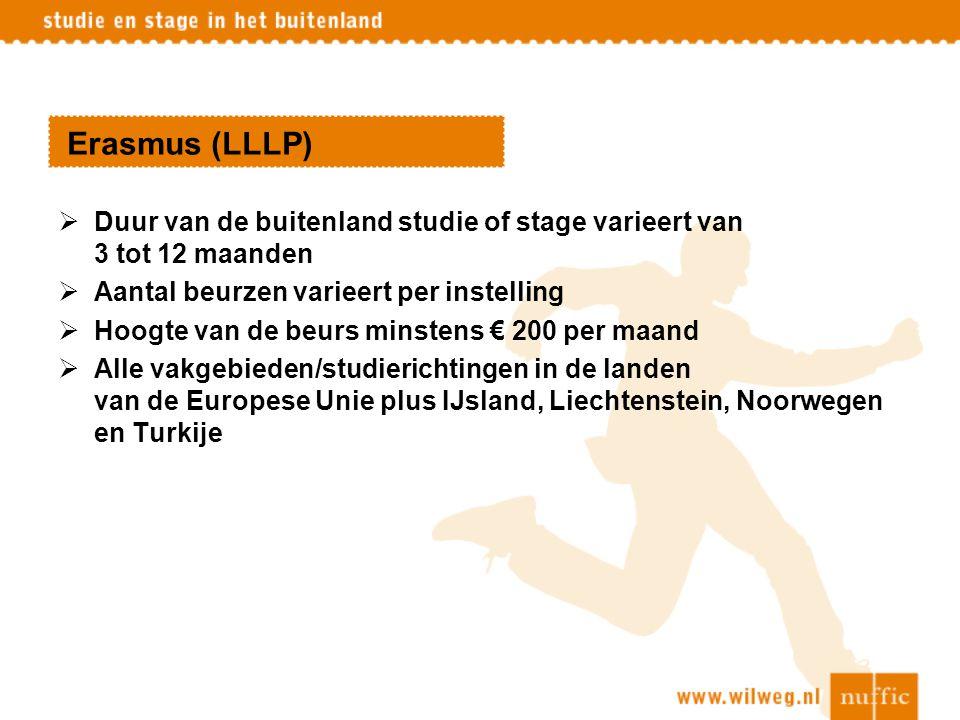 Erasmus (LLLP)  Duur van de buitenland studie of stage varieert van 3 tot 12 maanden  Aantal beurzen varieert per instelling  Hoogte van de beurs m