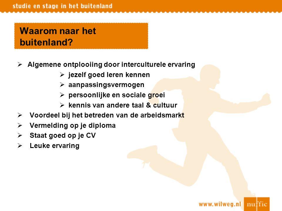Beursprogramma's tijdens hbo-studie  Erasmus (Leven Lang Leren Programma)  HSP Talenten Programma (studie of onderzoek)  Culturele Verdragen (studie of onderzoek)  Tempus (bij samenwerkingverband instelling)  Beurzen van de eigen instelling (eventueel)