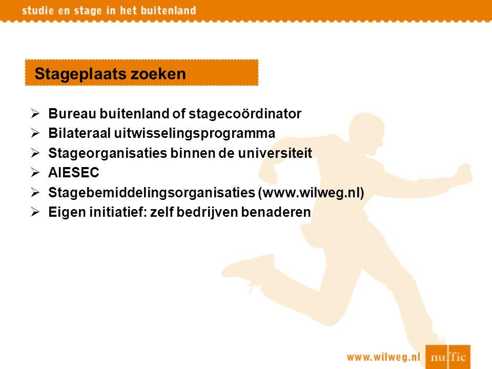 Stageplaats zoeken  Bureau buitenland of stagecoördinator  Bilateraal uitwisselingsprogramma  Stageorganisaties binnen de universiteit  AIESEC  S