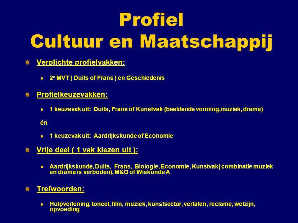 Profiel Cultuur en Maatschappij Verplichte profielvakken: 2 e MVT ( Duits of Frans ) en Geschiedenis Profielkeuzevakken: 1 keuzevak uit: Duits, Frans