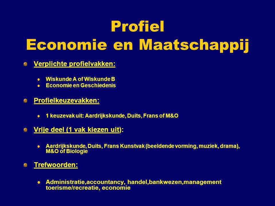 Profiel Economie en Maatschappij Verplichte profielvakken: Wiskunde A of Wiskunde B Economie en Geschiedenis Profielkeuzevakken: 1 keuzevak uit: Aardr