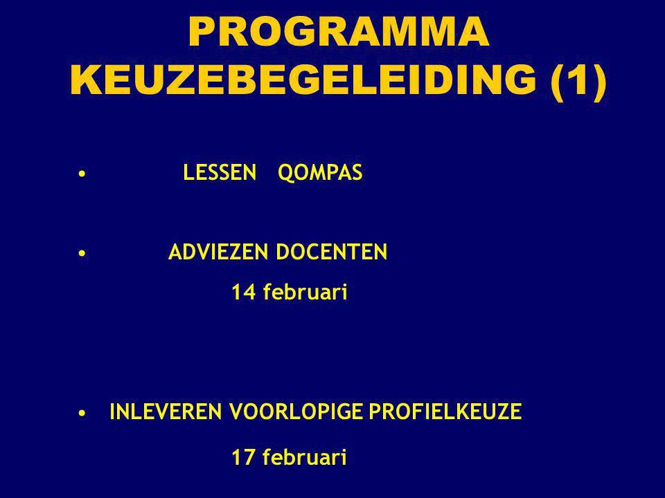 LESSEN QOMPAS ADVIEZEN DOCENTEN 14 februari INLEVEREN VOORLOPIGE PROFIELKEUZE 17 februari PROGRAMMA KEUZEBEGELEIDING (1)