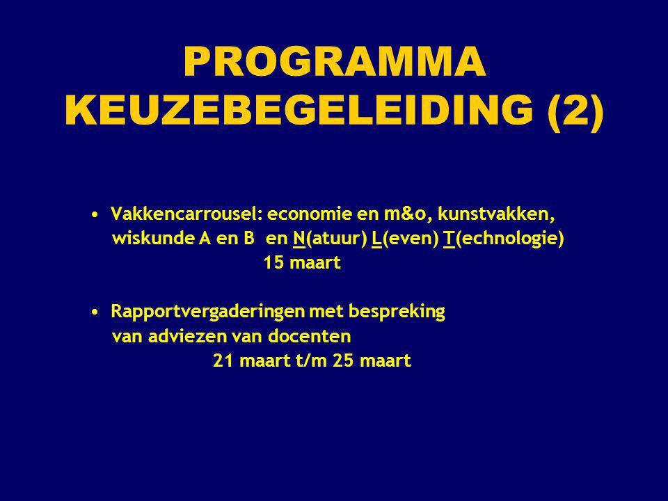 PROGRAMMA KEUZEBEGELEIDING (2) Vakkencarrousel: economie en m&o, kunstvakken, wiskunde A en B en N(atuur) L(even) T(echnologie) 15 maart Rapportvergad