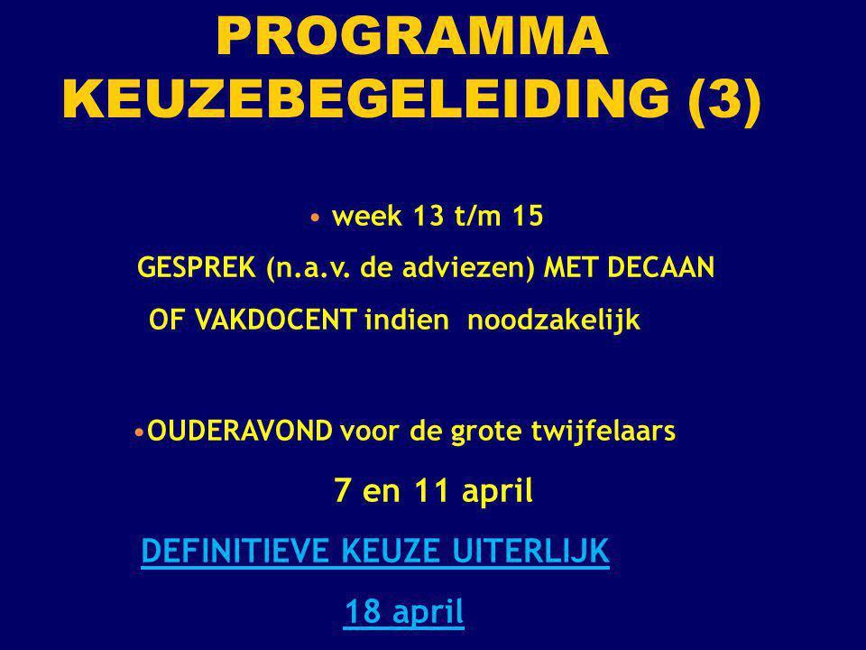 week 13 t/m 15 GESPREK (n.a.v. de adviezen) MET DECAAN OF VAKDOCENT indien noodzakelijk OUDERAVOND voor de grote twijfelaars 7 en 11 april DEFINITIEVE