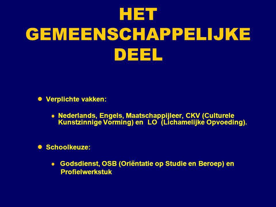 HET GEMEENSCHAPPELIJKE DEEL Verplichte vakken: Nederlands, Engels, Maatschappijleer, CKV (Culturele Kunstzinnige Vorming) en LO (Lichamelijke Opvoedin