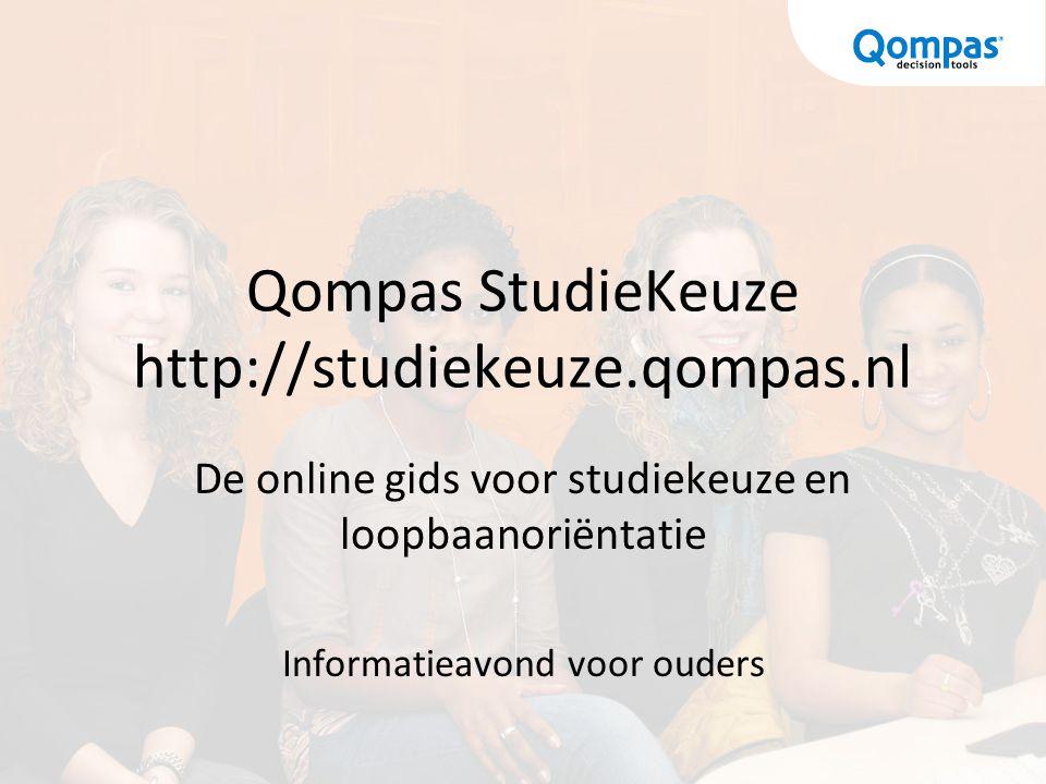 Qompas StudieKeuze http://studiekeuze.qompas.nl De online gids voor studiekeuze en loopbaanoriëntatie Informatieavond voor ouders