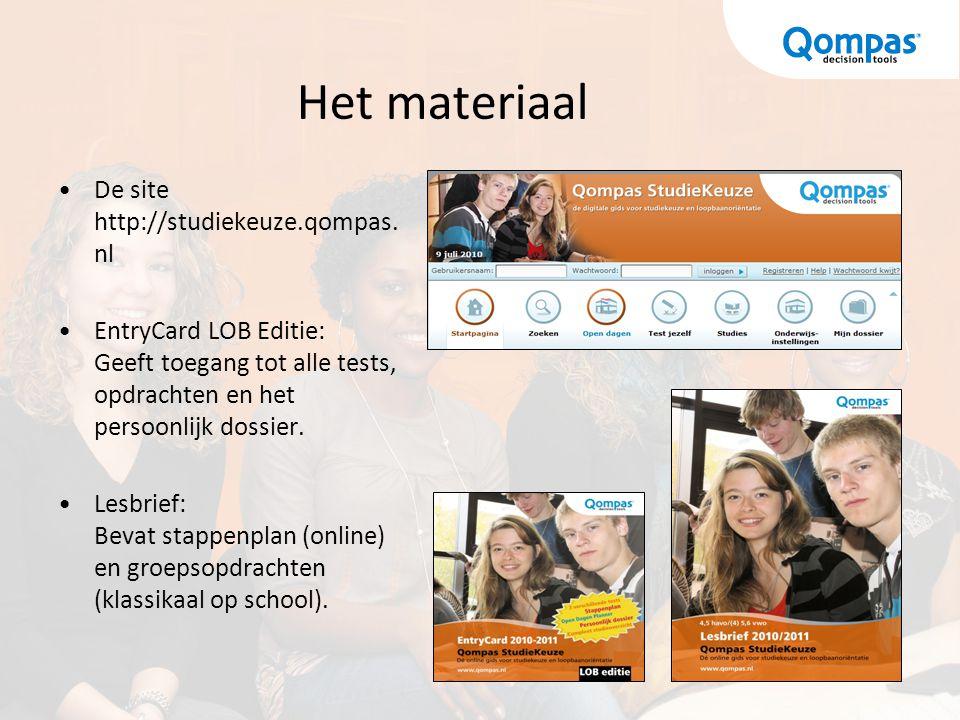Het materiaal De site http://studiekeuze.qompas.