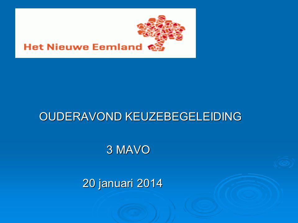 OUDERAVOND KEUZEBEGELEIDING OUDERAVOND KEUZEBEGELEIDING 3 MAVO 3 MAVO 20 januari 2014