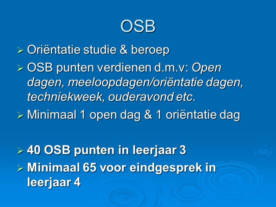 OSB  Oriëntatie studie & beroep  OSB punten verdienen d.m.v: Open dagen, meeloopdagen/oriëntatie dagen, techniekweek, ouderavond etc.