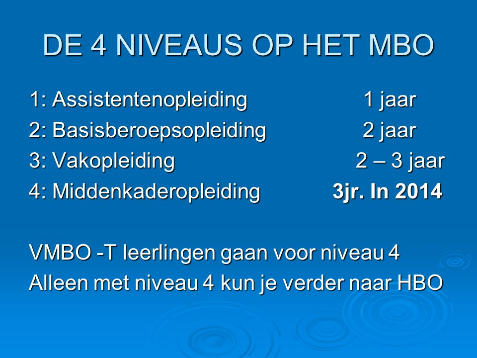 DE 4 NIVEAUS OP HET MBO 1: Assistentenopleiding 1 jaar 2: Basisberoepsopleiding2 jaar 3: Vakopleiding 2 – 3 jaar 4: Middenkaderopleiding 3jr.