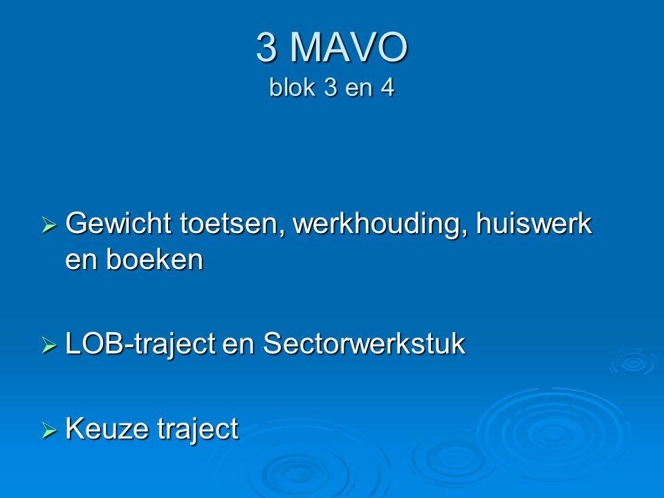 3 MAVO blok 3 en 4  Gewicht toetsen, werkhouding, huiswerk en boeken  LOB-traject en Sectorwerkstuk  Keuze traject