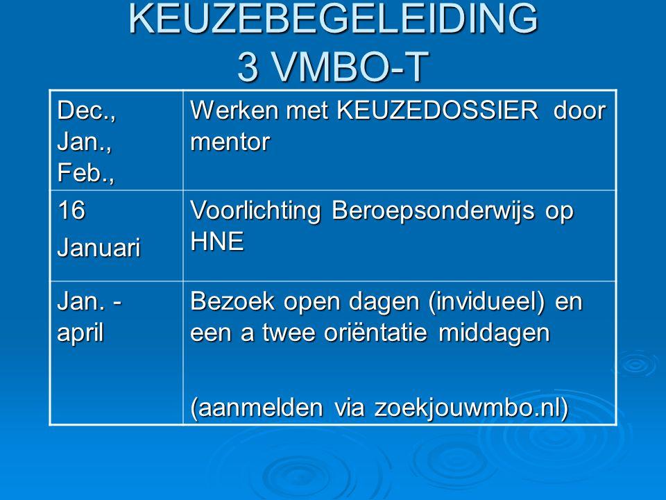 KEUZEBEGELEIDING 3 VMBO-T Dec., Jan., Feb., Werken met KEUZEDOSSIER door mentor 16Januari Voorlichting Beroepsonderwijs op HNE Jan.