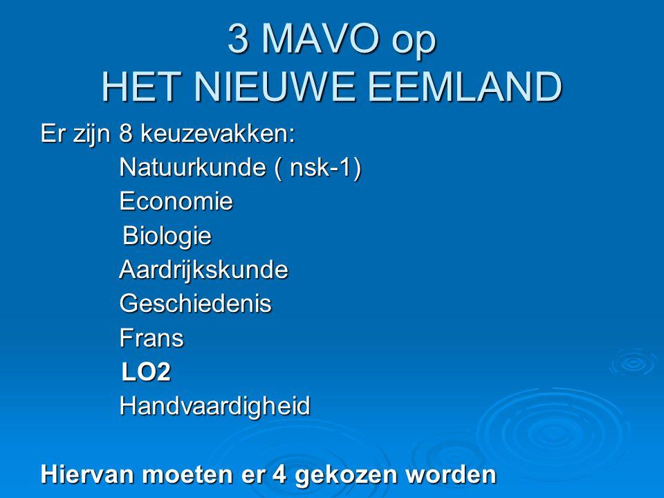 3 MAVO op HET NIEUWE EEMLAND Er zijn 8 keuzevakken: Natuurkunde ( nsk-1) Natuurkunde ( nsk-1) Economie Economie Biologie Biologie Aardrijkskunde Aardr