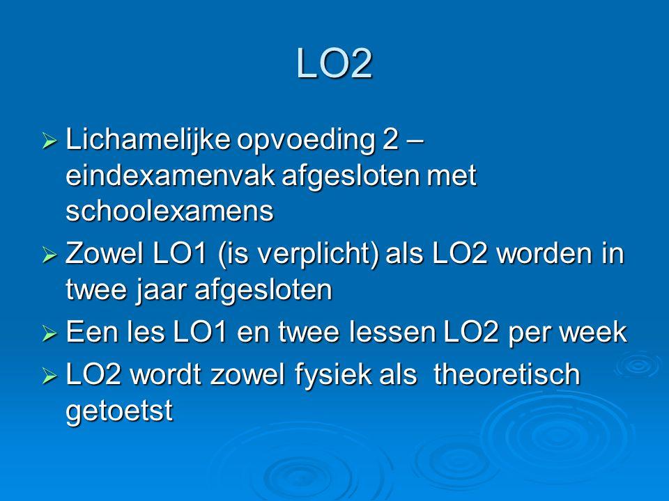 LO2  Lichamelijke opvoeding 2 – eindexamenvak afgesloten met schoolexamens  Zowel LO1 (is verplicht) als LO2 worden in twee jaar afgesloten  Een le