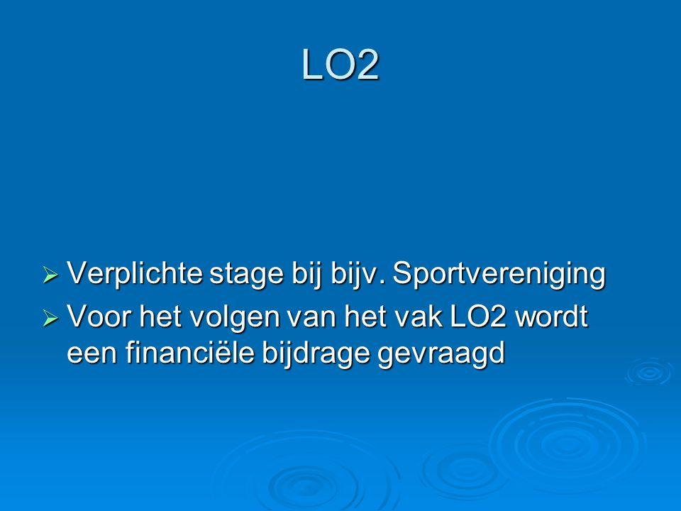 LO2  Verplichte stage bij bijv. Sportvereniging  Voor het volgen van het vak LO2 wordt een financiële bijdrage gevraagd
