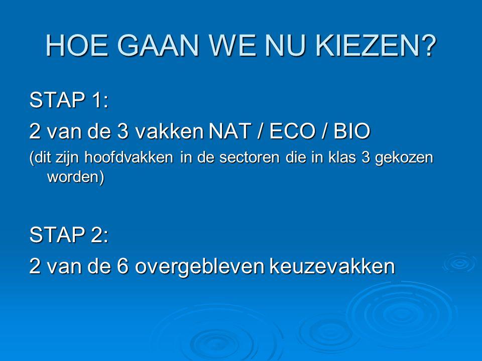 HOE GAAN WE NU KIEZEN? STAP 1: 2 van de 3 vakken NAT / ECO / BIO (dit zijn hoofdvakken in de sectoren die in klas 3 gekozen worden) STAP 2: 2 van de 6