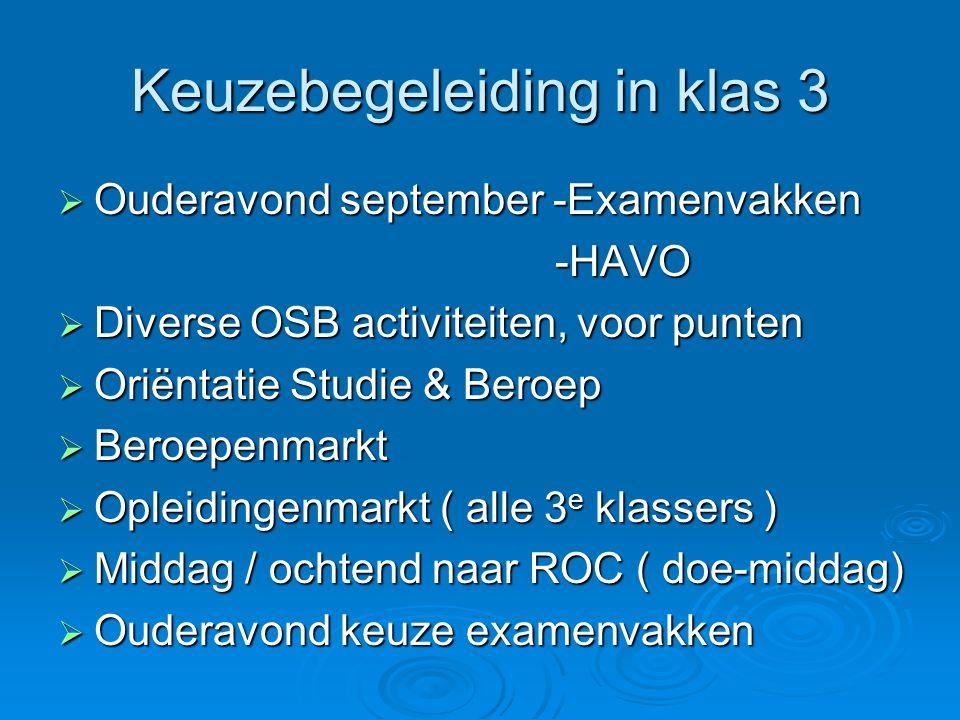 Keuzebegeleiding in klas 3  Ouderavond september -Examenvakken -HAVO -HAVO  Diverse OSB activiteiten, voor punten  Oriëntatie Studie & Beroep  Ber