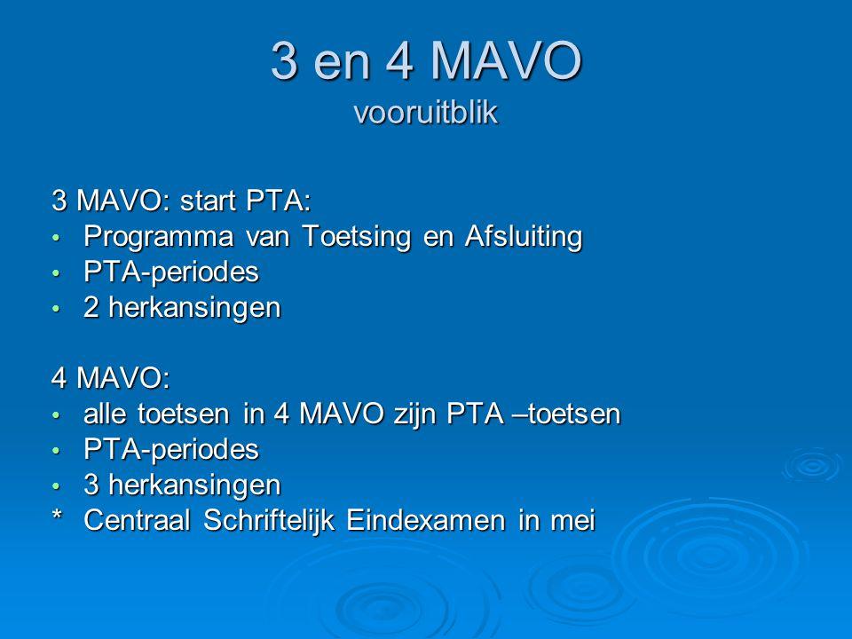 3 en 4 MAVO vooruitblik 3 MAVO: start PTA: Programma van Toetsing en Afsluiting Programma van Toetsing en Afsluiting PTA-periodes PTA-periodes 2 herka