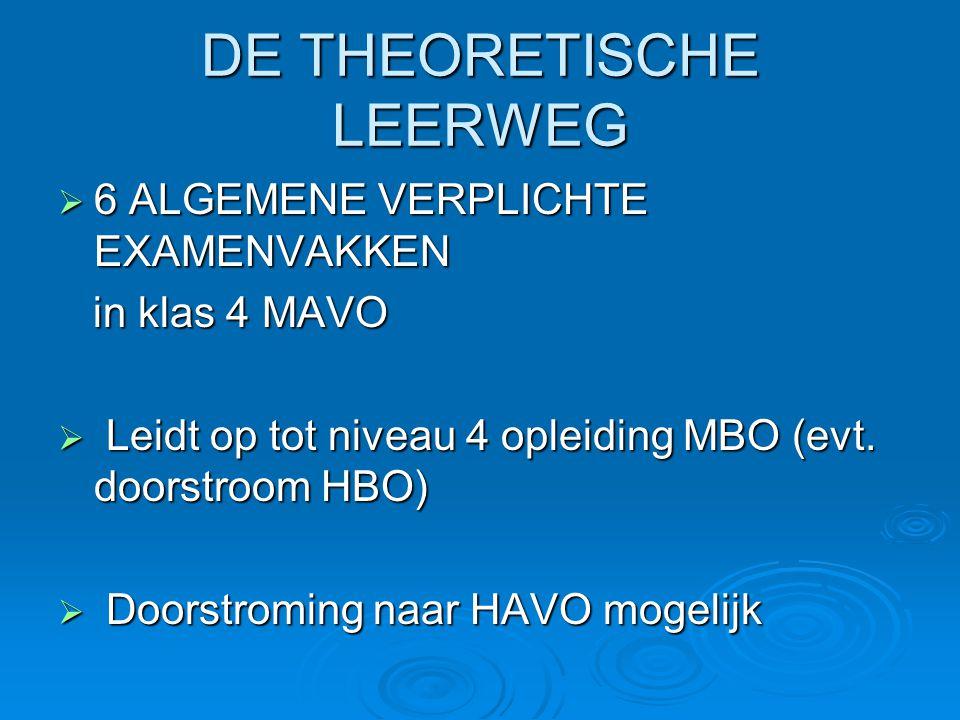 DE THEORETISCHE LEERWEG  6 ALGEMENE VERPLICHTE EXAMENVAKKEN in klas 4 MAVO in klas 4 MAVO  Leidt op tot niveau 4 opleiding MBO (evt. doorstroom HBO)