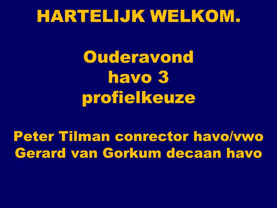 HARTELIJK WELKOM. Ouderavond havo 3 profielkeuze Peter Tilman conrector havo/vwo Gerard van Gorkum decaan havo