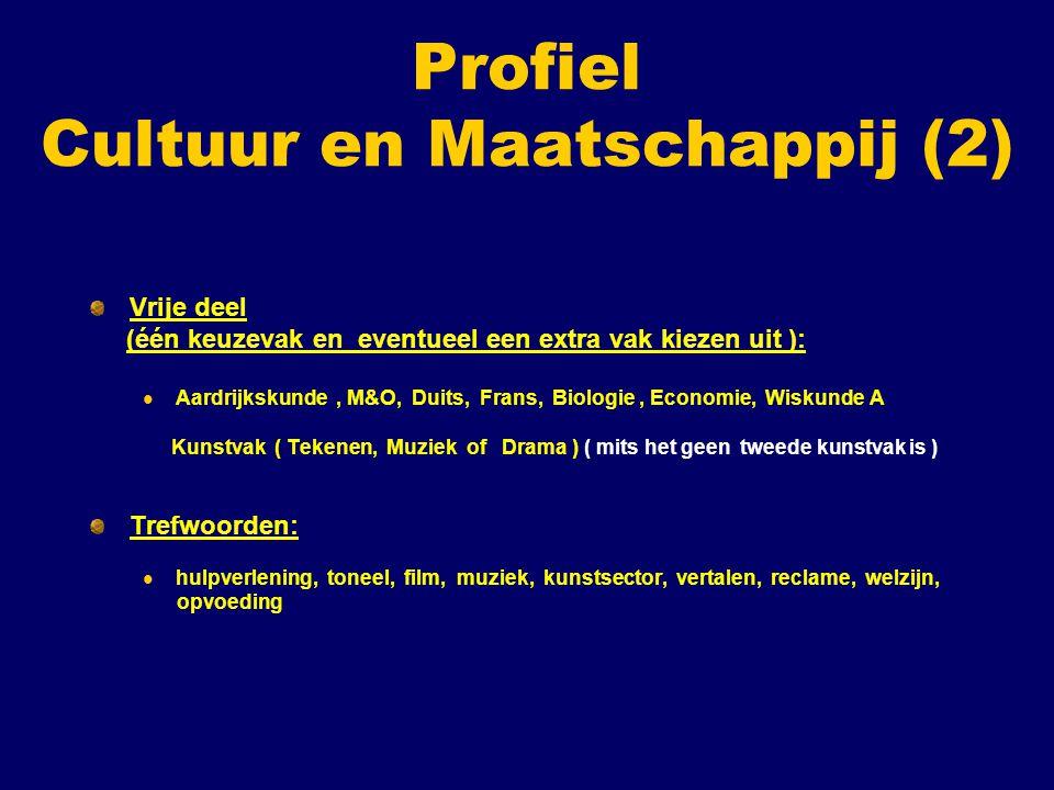 Profiel Cultuur en Maatschappij (2) Vrije deel (één keuzevak en eventueel een extra vak kiezen uit ): Aardrijkskunde, M&O, Duits, Frans, Biologie, Eco