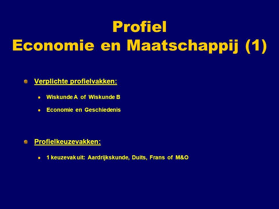 Profiel Economie en Maatschappij (1) Verplichte profielvakken: Wiskunde A of Wiskunde B Economie en Geschiedenis Profielkeuzevakken: 1 keuzevak uit: Aardrijkskunde, Duits, Frans of M&O