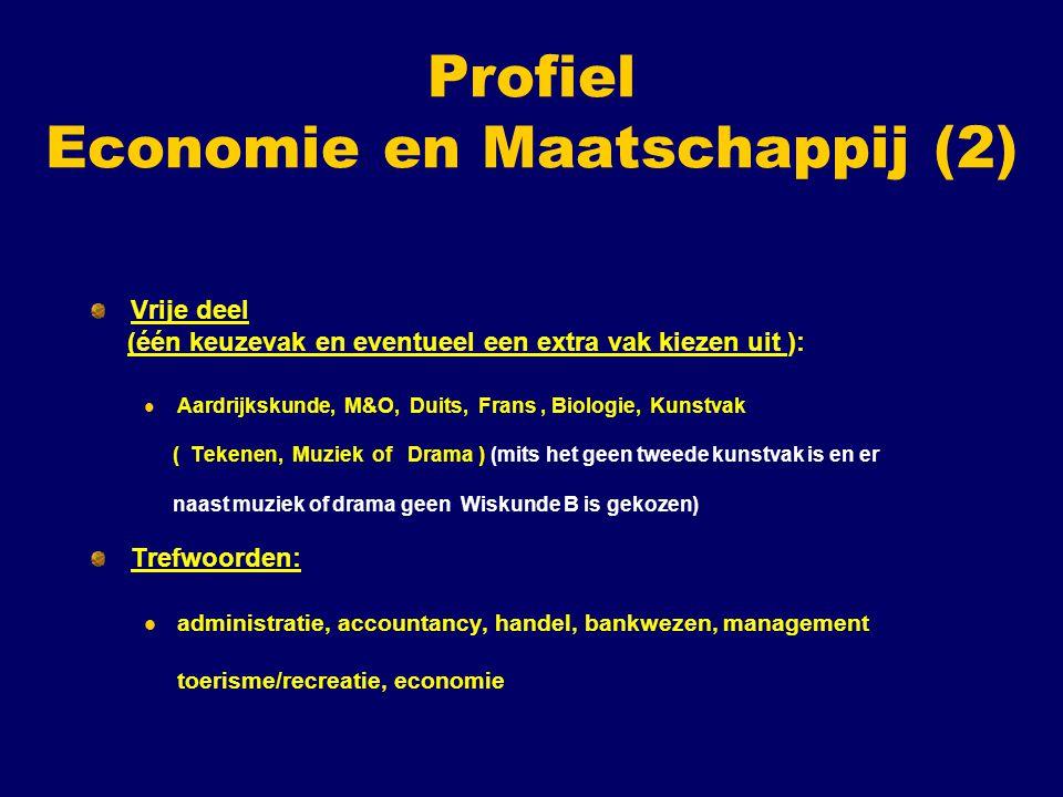 Profiel Economie en Maatschappij (2) Vrije deel (één keuzevak en eventueel een extra vak kiezen uit ): Aardrijkskunde, M&O, Duits, Frans, Biologie, Ku