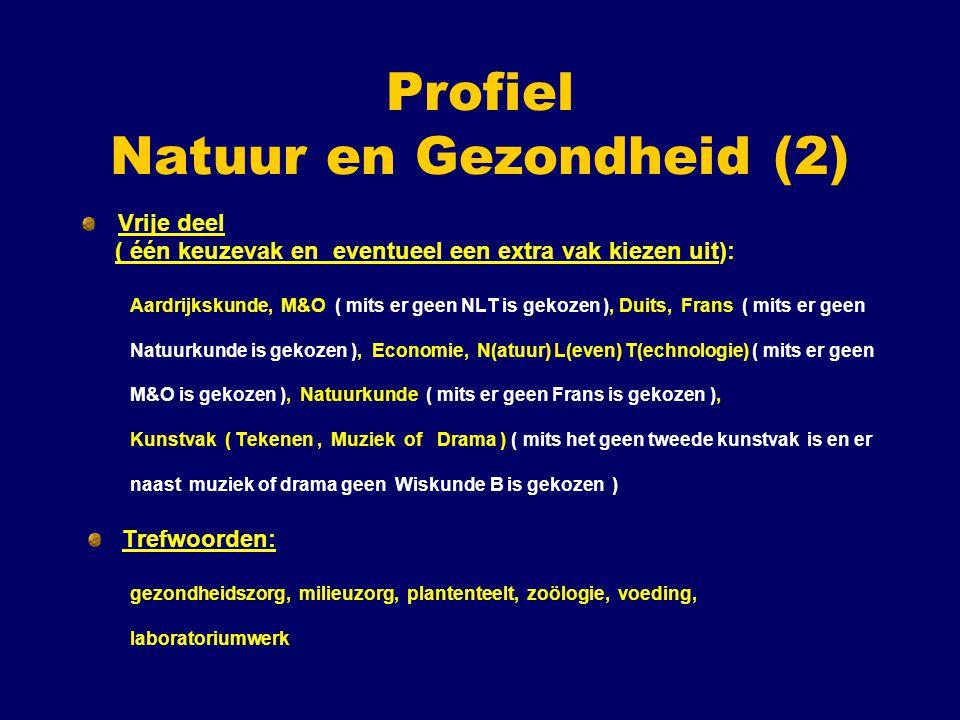 Profiel Natuur en Gezondheid (2) Vrije deel ( één keuzevak en eventueel een extra vak kiezen uit): Aardrijkskunde, M&O ( mits er geen NLT is gekozen )