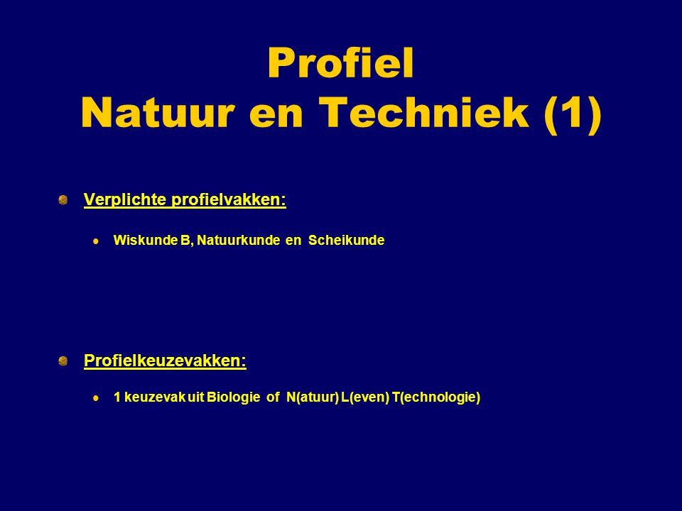 Profiel Natuur en Techniek (1) Verplichte profielvakken: Wiskunde B, Natuurkunde en Scheikunde Profielkeuzevakken: 1 keuzevak uit Biologie of N(atuur) L(even) T(echnologie)