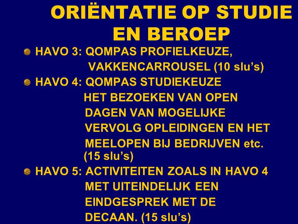 ORIËNTATIE OP STUDIE EN BEROEP HAVO 3: QOMPAS PROFIELKEUZE, VAKKENCARROUSEL (10 slu's) HAVO 4: QOMPAS STUDIEKEUZE HET BEZOEKEN VAN OPEN DAGEN VAN MOGE