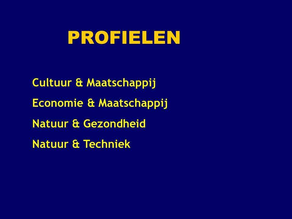 Profiel Cultuur en Maatschappij (1) Verplichte profielvakken: 2 e MVT ( Duits of Frans ) en Geschiedenis Profielkeuzevakken: 1 keuzevak uit: Duits, Frans of Kunstvak ( Tekenen, Muziek of Drama ) en 1 keuzevak uit: Aardrijkskunde of Economie