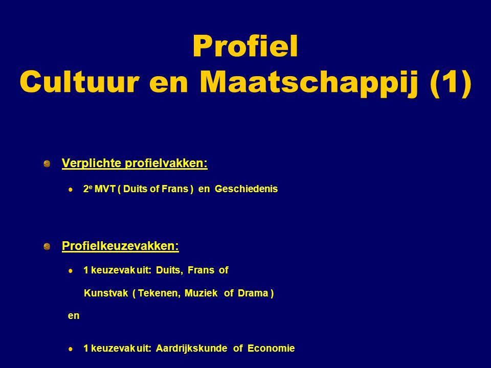 Profiel Cultuur en Maatschappij (1) Verplichte profielvakken: 2 e MVT ( Duits of Frans ) en Geschiedenis Profielkeuzevakken: 1 keuzevak uit: Duits, Fr