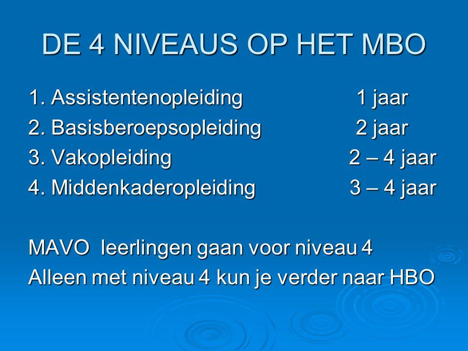 DE 4 NIVEAUS OP HET MBO 1. Assistentenopleiding 1 jaar 2.