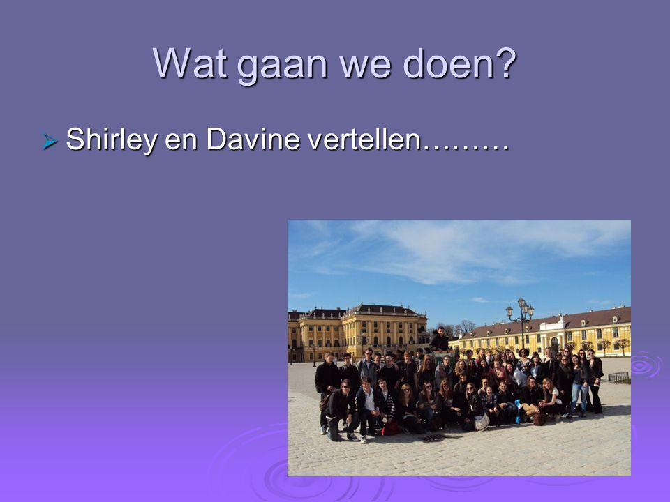 Wat gaan we doen?  Shirley en Davine vertellen………