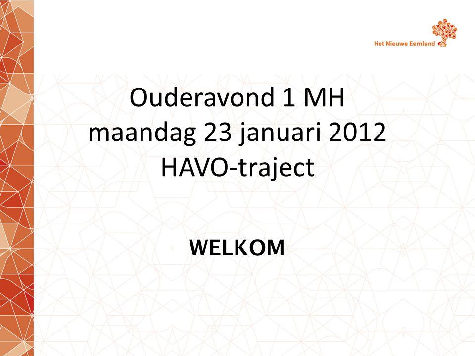 Ouderavond 1 MH maandag 23 januari 2012 HAVO-traject WELKOM