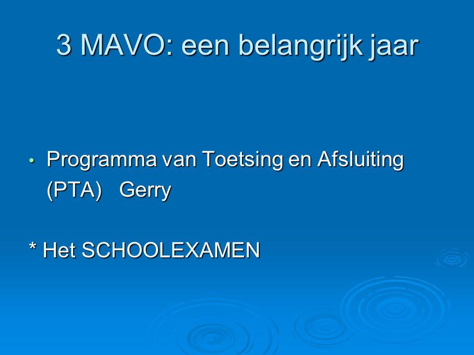 3 MAVO: een belangrijk jaar Programma van Toetsing en Afsluiting Programma van Toetsing en Afsluiting (PTA) Gerry * Het SCHOOLEXAMEN